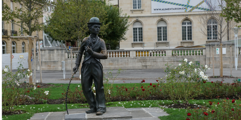 Charlie Chaplin in Front of Alimentarium Museum Vevey